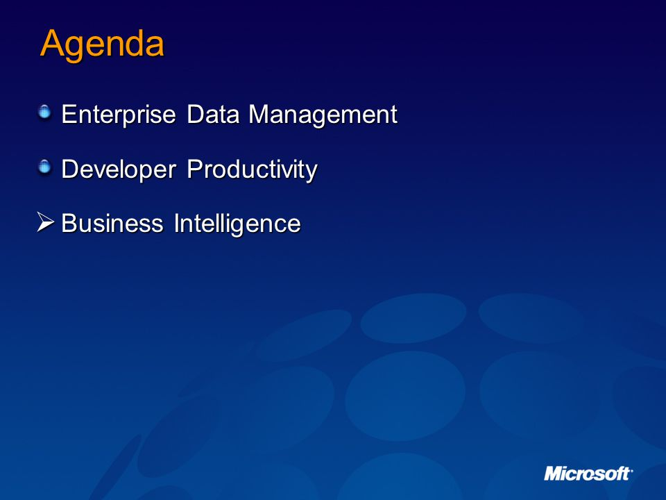 Agenda Enterprise Data Management Developer Productivity