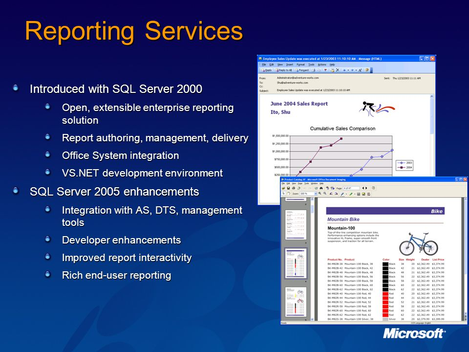 Reporting Services Introduced with SQL Server 2000