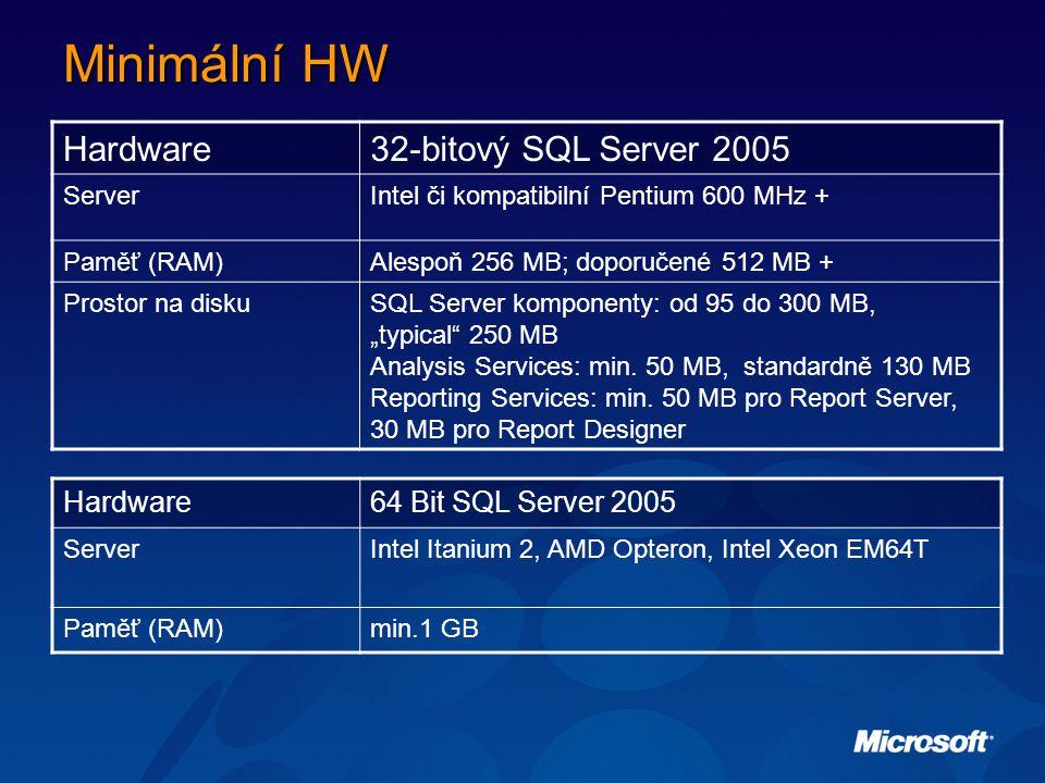 Minimální HW Hardware 32-bitový SQL Server 2005 Hardware