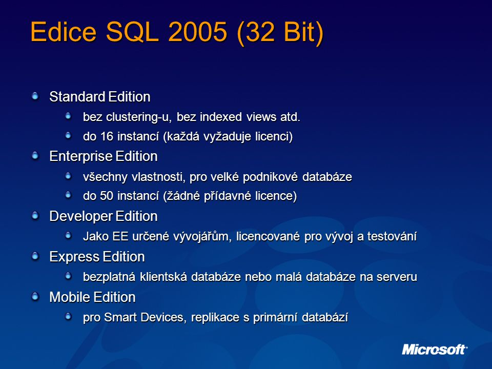 Edice SQL 2005 (32 Bit) Standard Edition Enterprise Edition