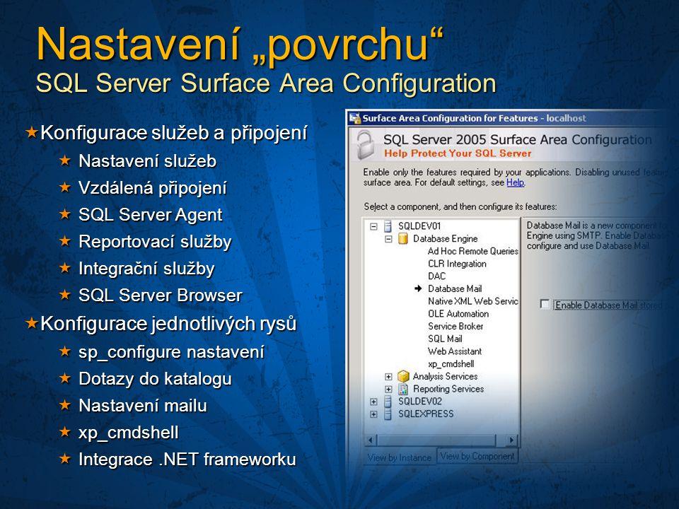 """Nastavení """"povrchu SQL Server Surface Area Configuration"""