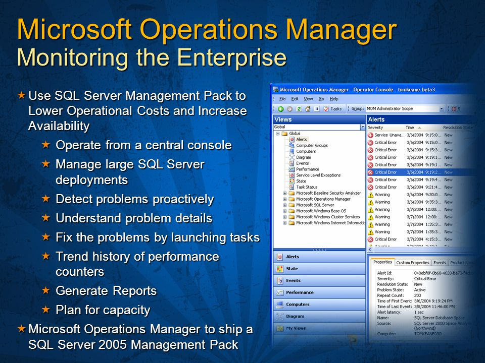 Microsoft Operations Manager Monitoring the Enterprise