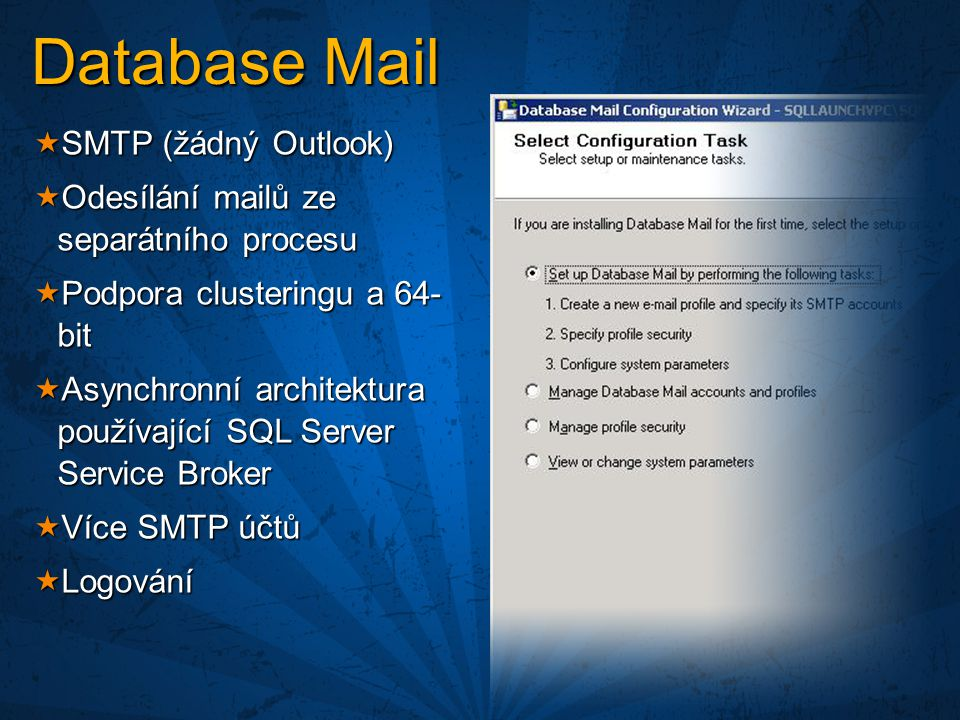 Database Mail SMTP (žádný Outlook)