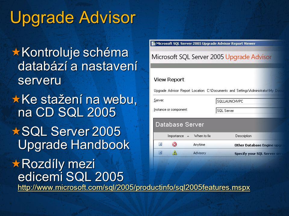 Upgrade Advisor Kontroluje schéma databází a nastavení serveru