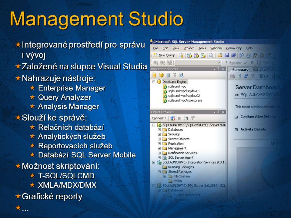 Management Studio Integrované prostředí pro správu i vývoj