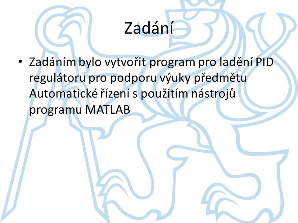 Zadání Zadáním bylo vytvořit program pro ladění PID regulátoru pro podporu výuky předmětu Automatické řízení s použitím nástrojů programu MATLAB.