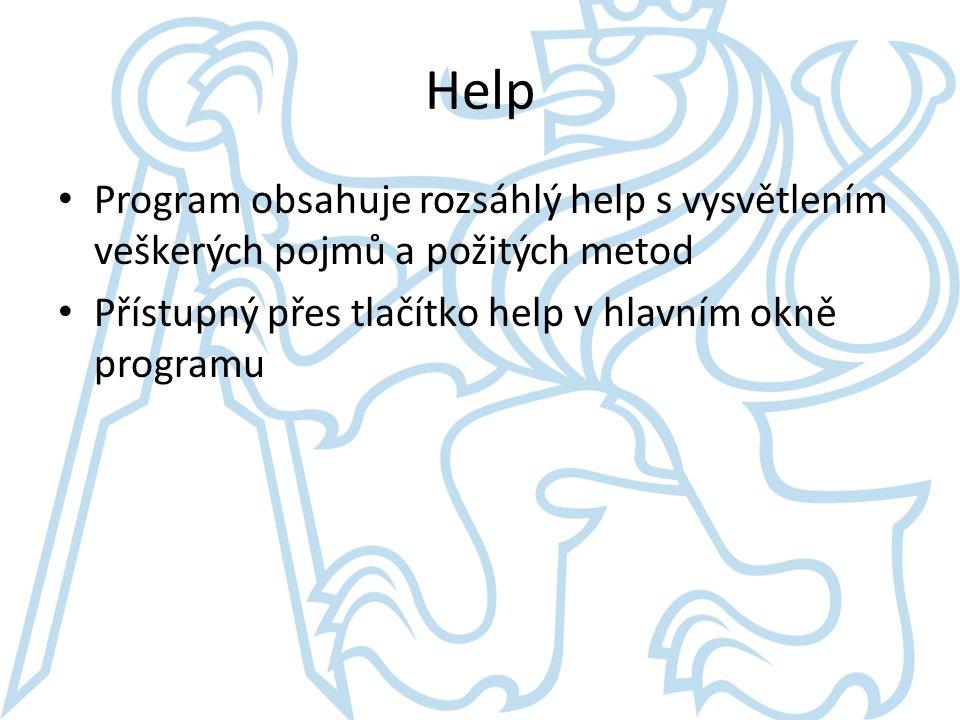 Help Program obsahuje rozsáhlý help s vysvětlením veškerých pojmů a požitých metod.