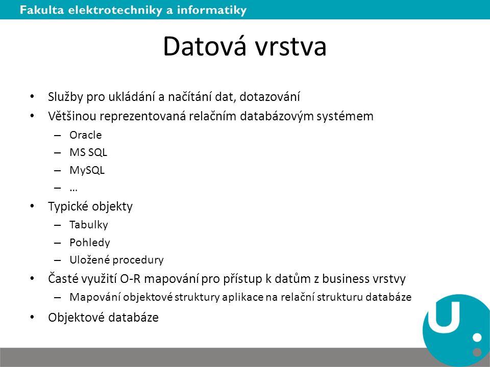 Datová vrstva Služby pro ukládání a načítání dat, dotazování