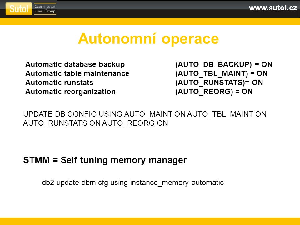 Autonomní operace STMM = Self tuning memory manager