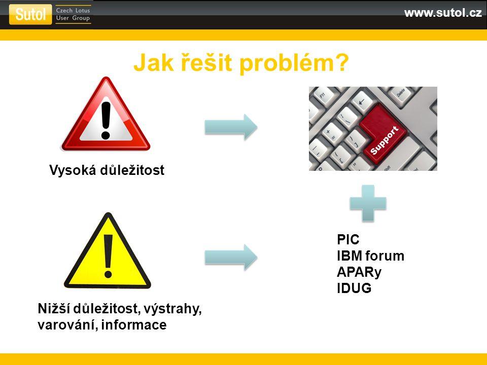 Jak řešit problém Vysoká důležitost PIC IBM forum APARy IDUG