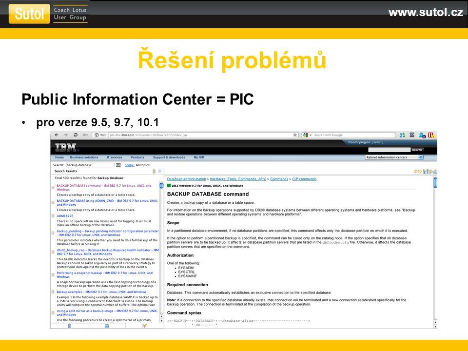 Řešení problémů Public Information Center = PIC