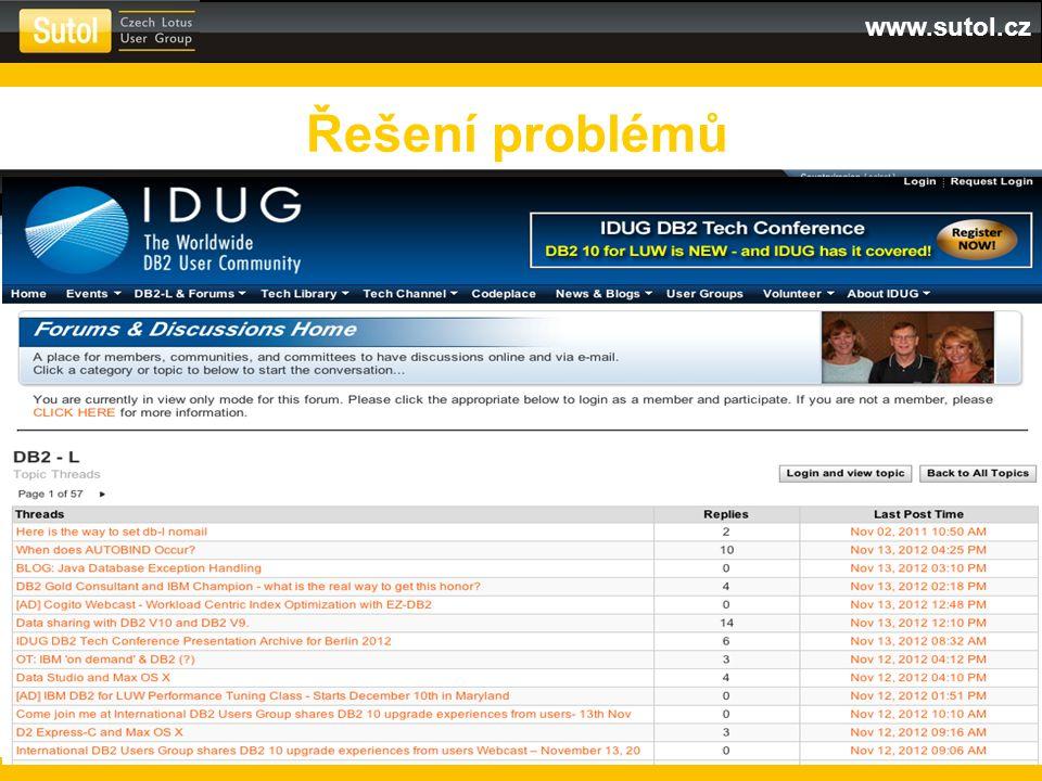 Řešení problémů IBM DB2 Forum IDUG Forum