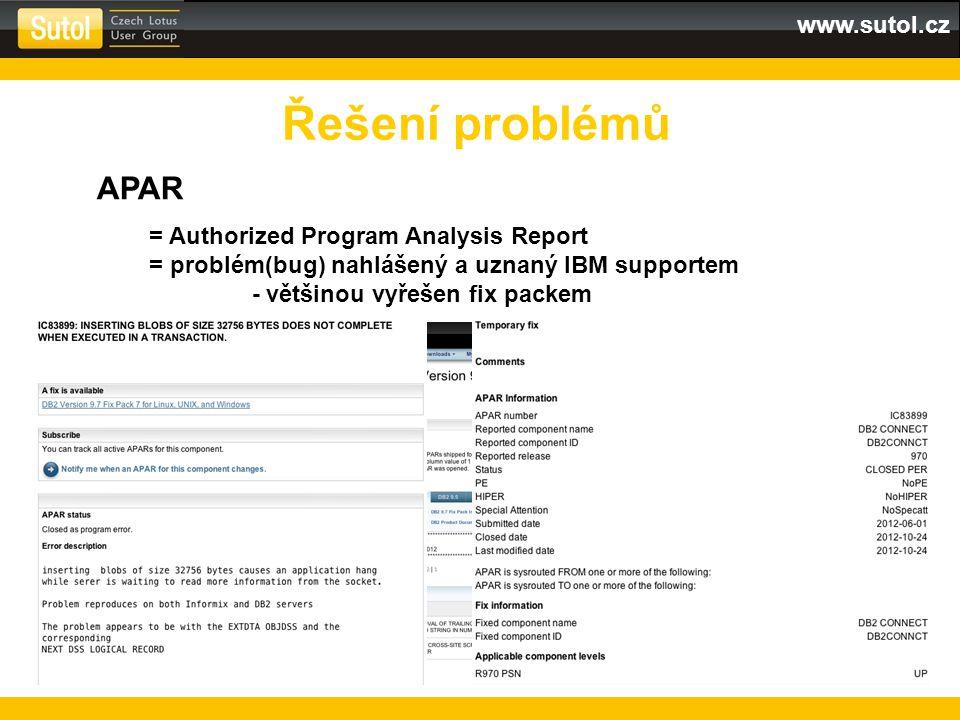 Řešení problémů APAR = Authorized Program Analysis Report