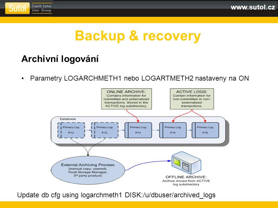 Backup & recovery Archivní logování