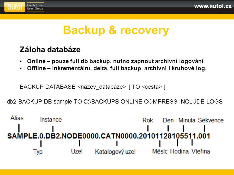 Backup & recovery Záloha databáze