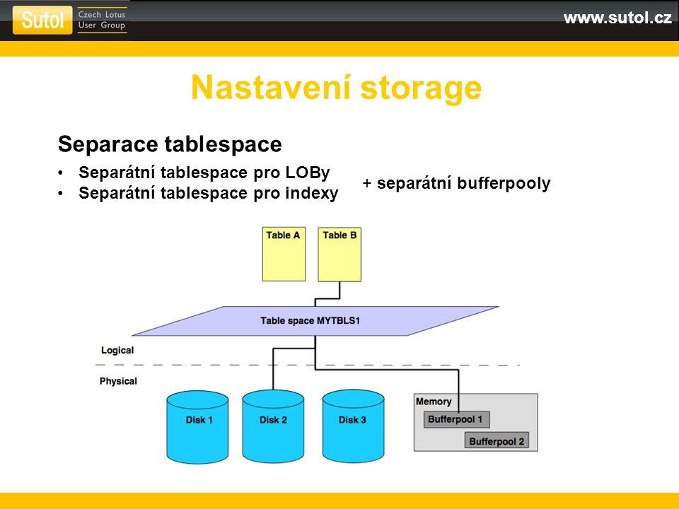 Nastavení storage Separace tablespace Separátní tablespace pro LOBy