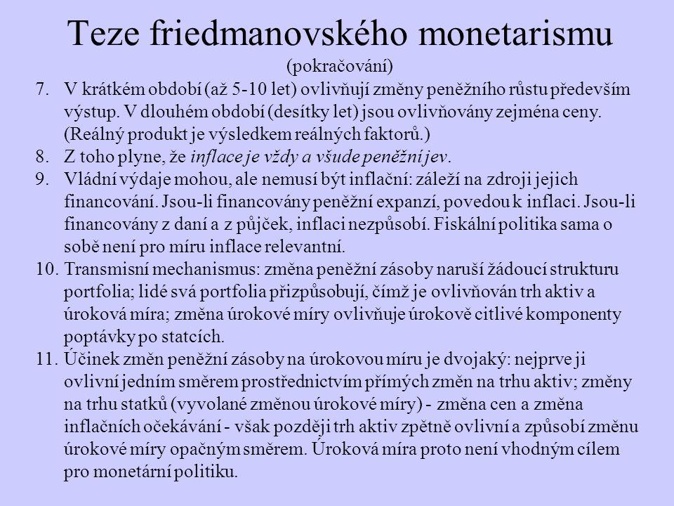 Teze friedmanovského monetarismu (pokračování)