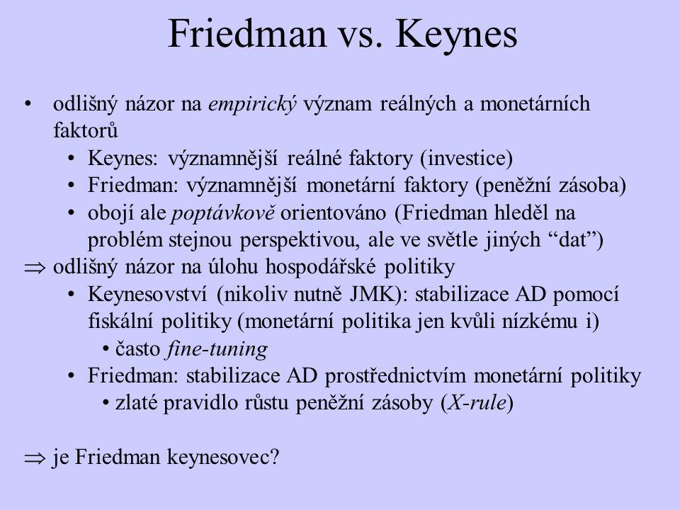 Friedman vs. Keynes odlišný názor na empirický význam reálných a monetárních faktorů. Keynes: významnější reálné faktory (investice)