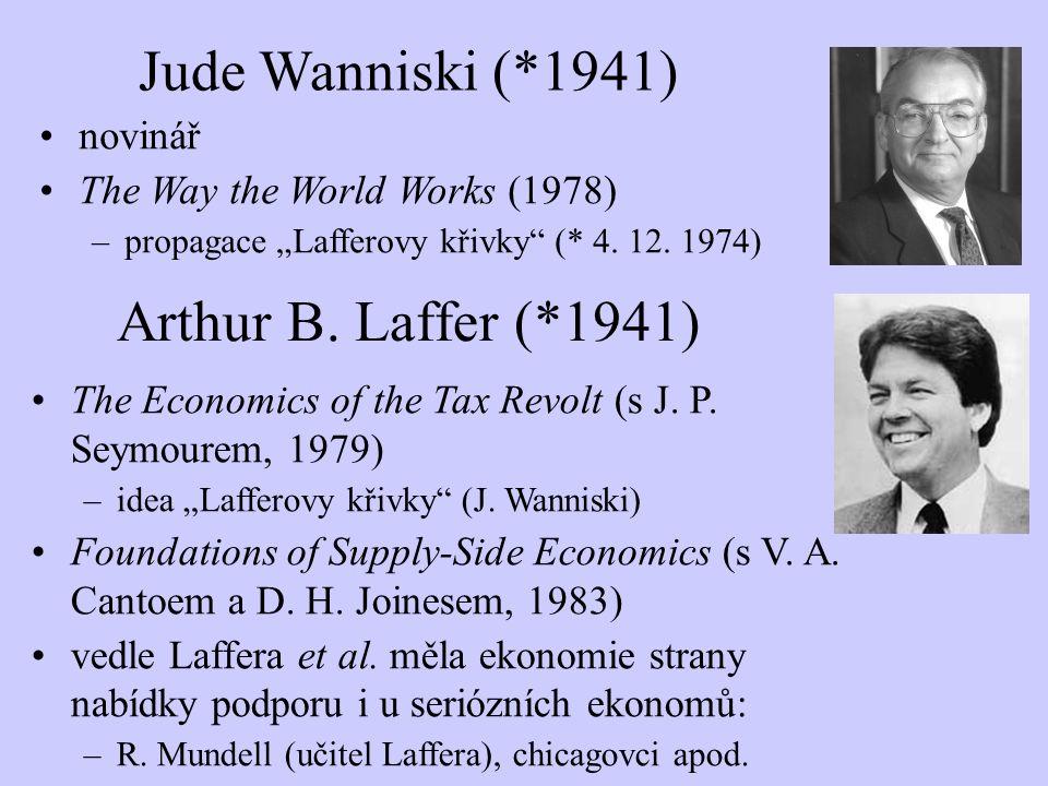 Jude Wanniski (*1941) Arthur B. Laffer (*1941) novinář