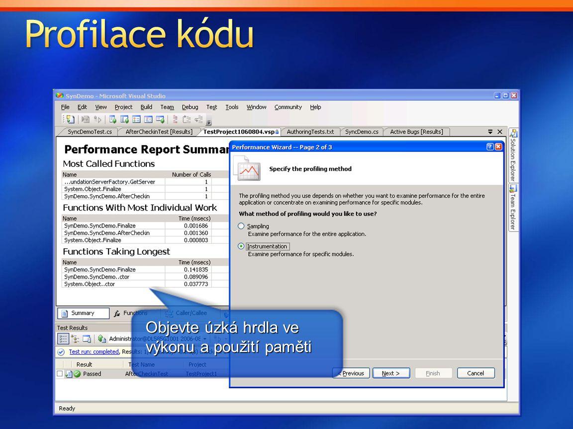 Profilace kódu Objevte úzká hrdla ve výkonu a použití paměti