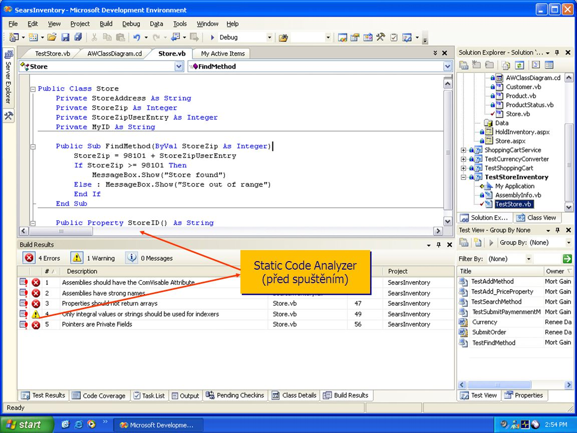 Static Code Analyzer (před spuštěním)