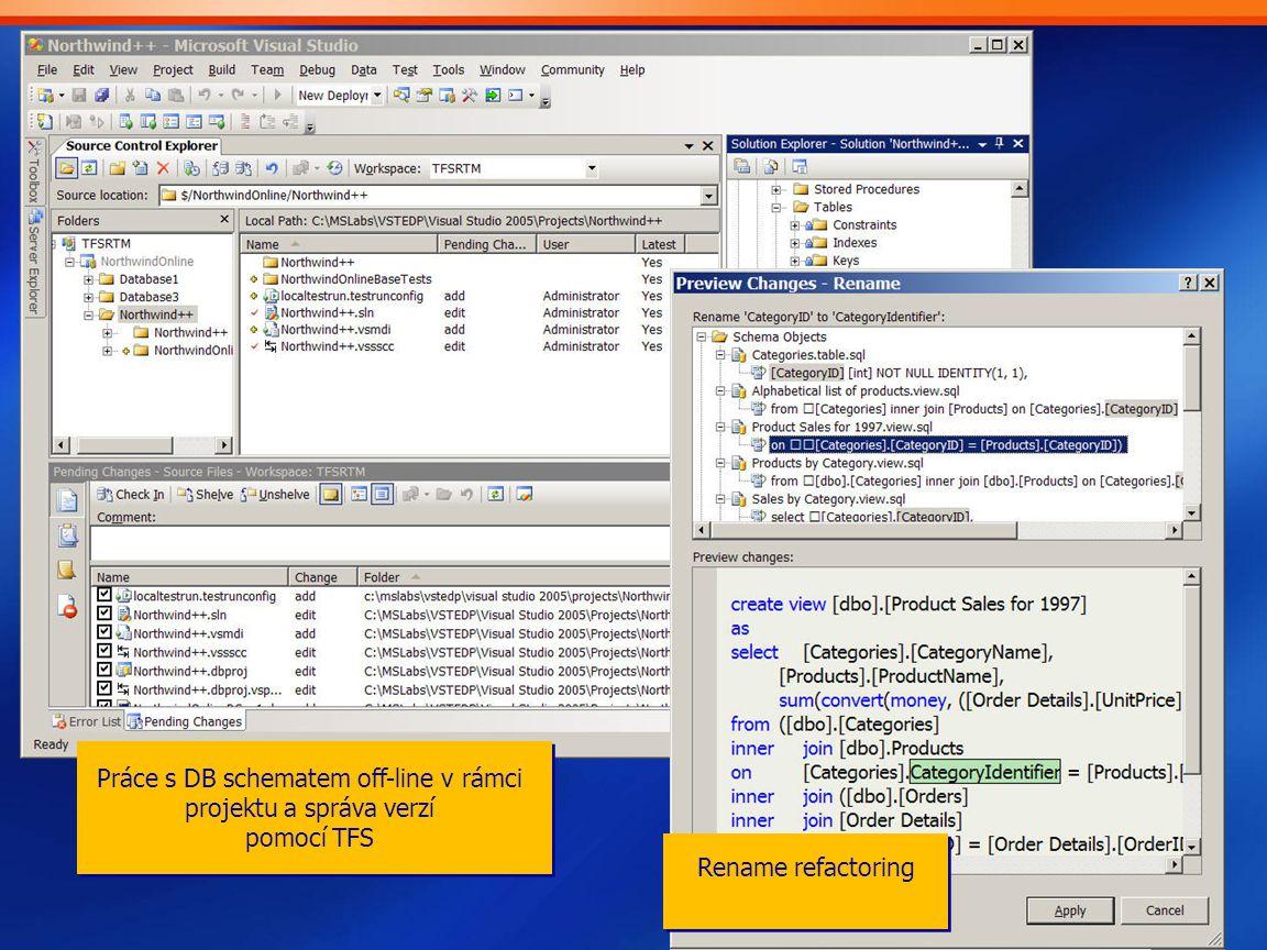 Práce s DB schematem off-line v rámci projektu a správa verzí pomocí TFS