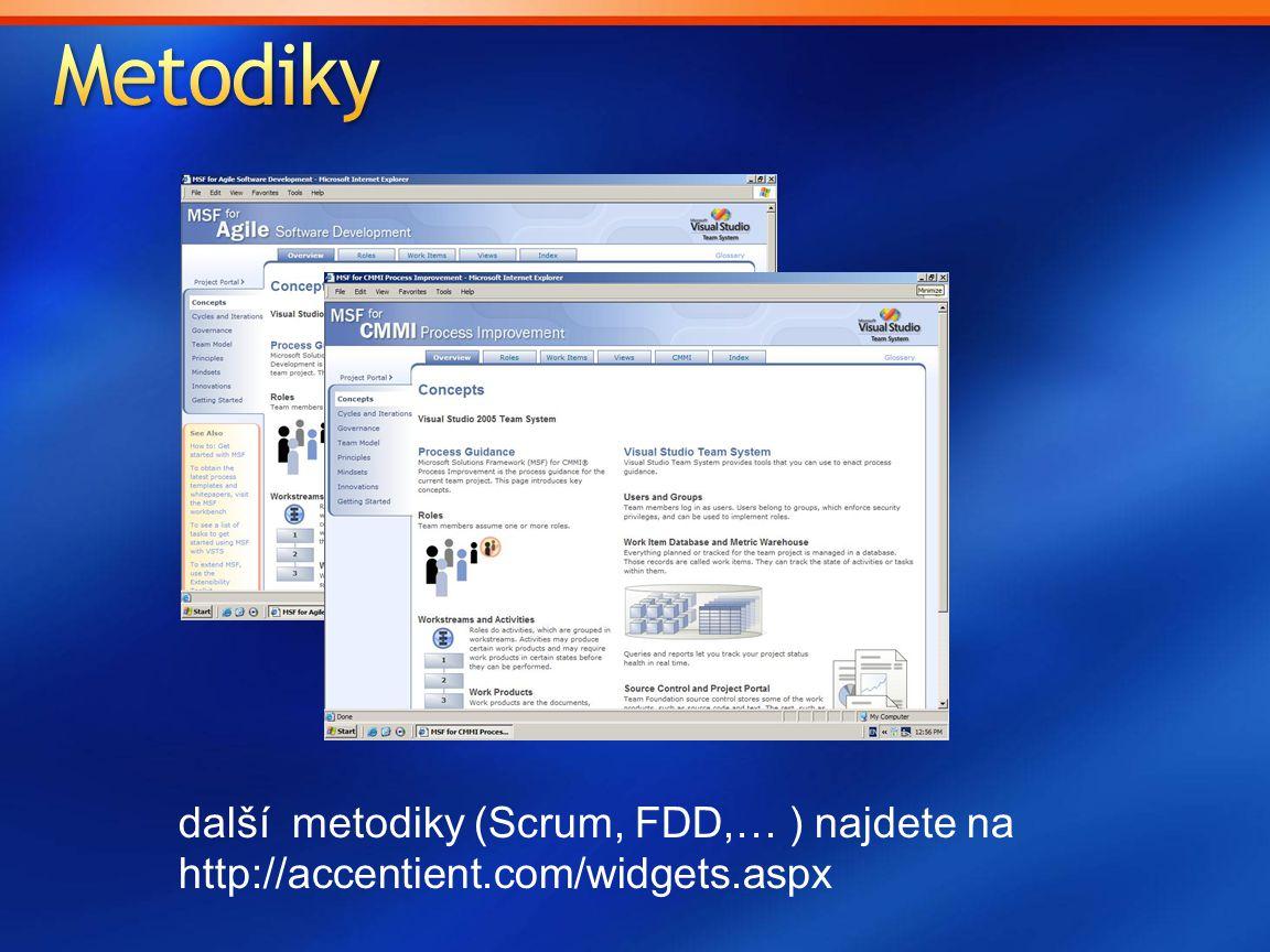 Metodiky další metodiky (Scrum, FDD,… ) najdete na http://accentient.com/widgets.aspx