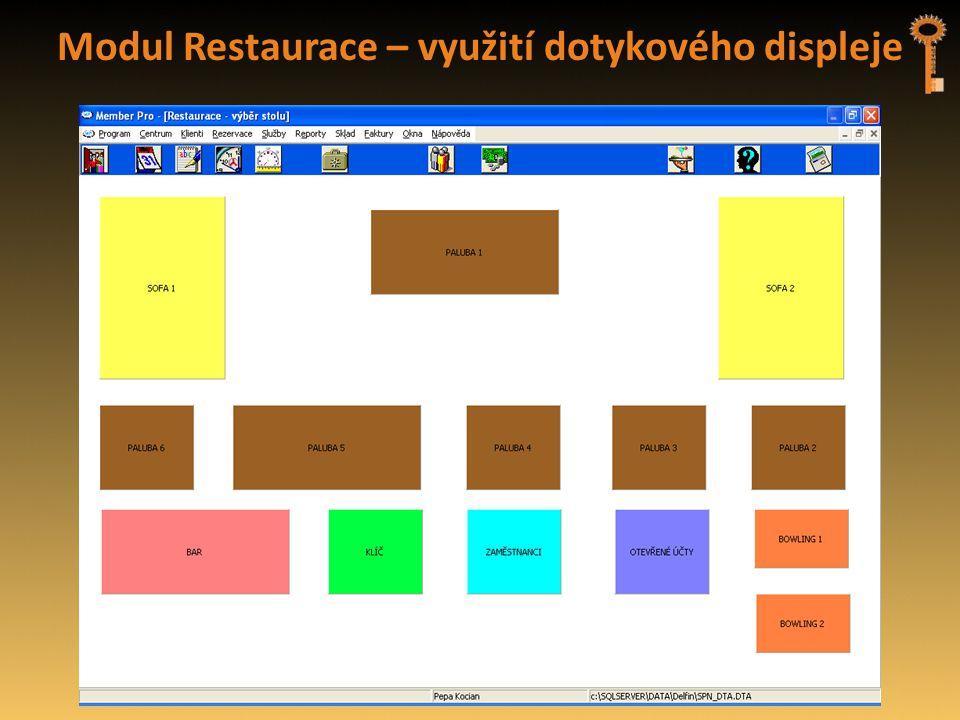 Modul Restaurace – využití dotykového displeje
