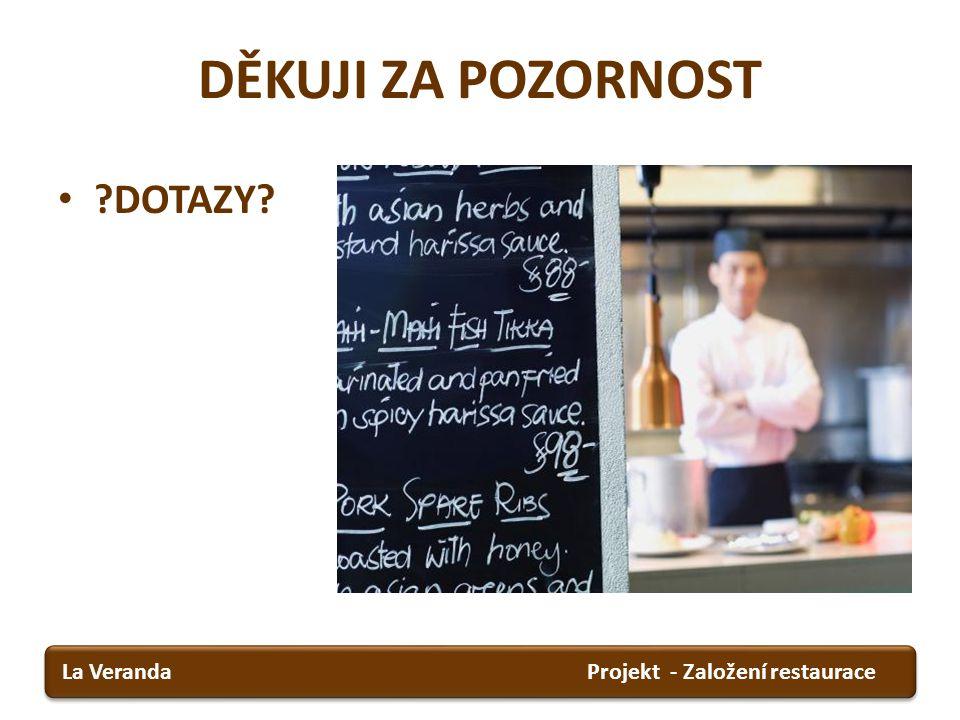 DĚKUJI ZA POZORNOST DOTAZY La Veranda Projekt - Založení restaurace