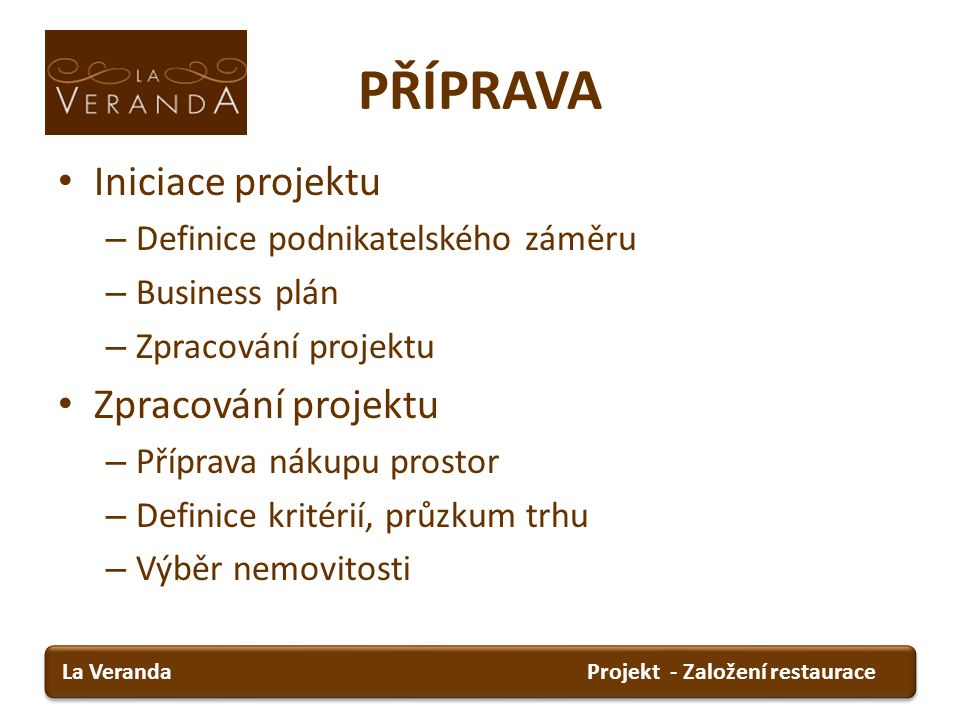 PŘÍPRAVA Iniciace projektu Definice podnikatelského záměru