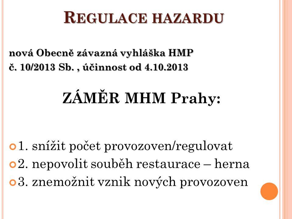 Regulace hazardu ZÁMĚR MHM Prahy: 1. snížit počet provozoven/regulovat