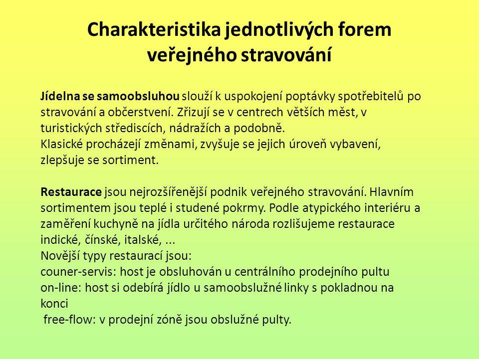 Charakteristika jednotlivých forem veřejného stravování