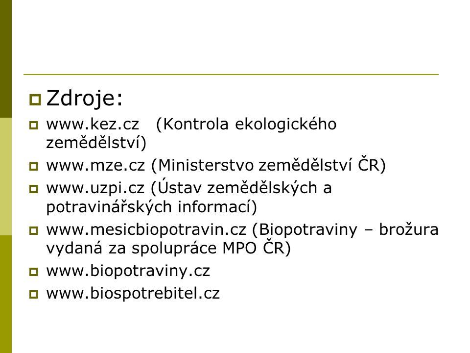 Zdroje: www.kez.cz (Kontrola ekologického zemědělství)