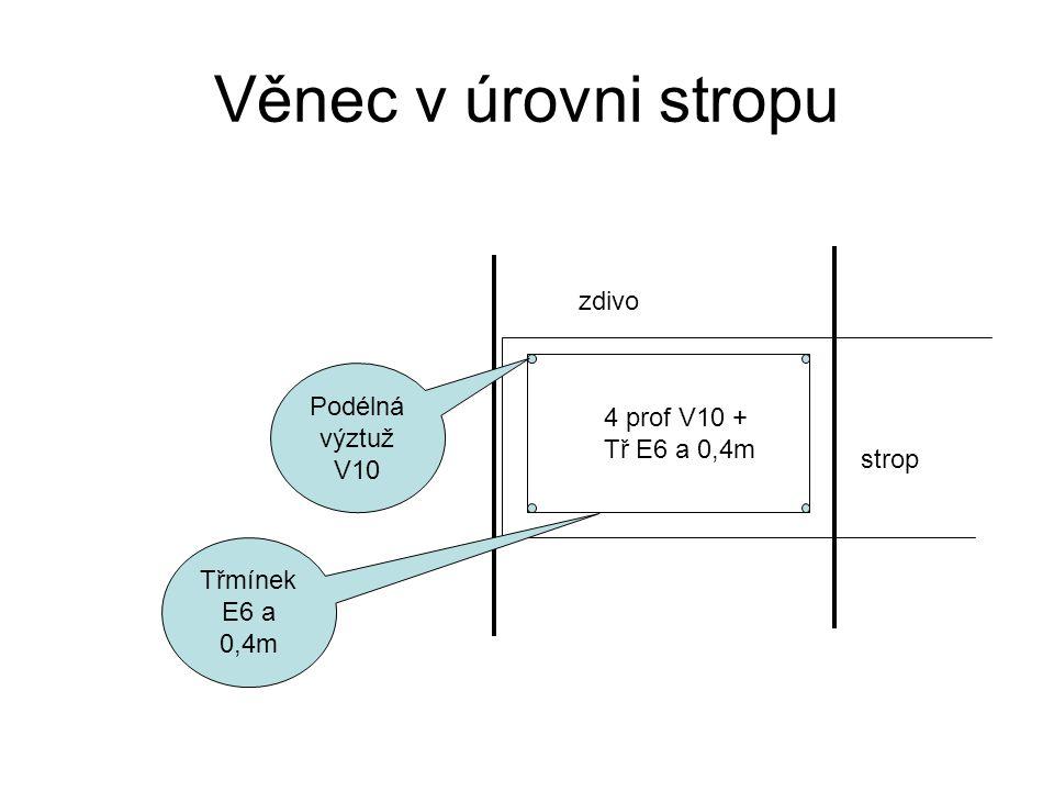 Věnec v úrovni stropu zdivo Podélná výztuž 4 prof V10 + Tř E6 a 0,4m