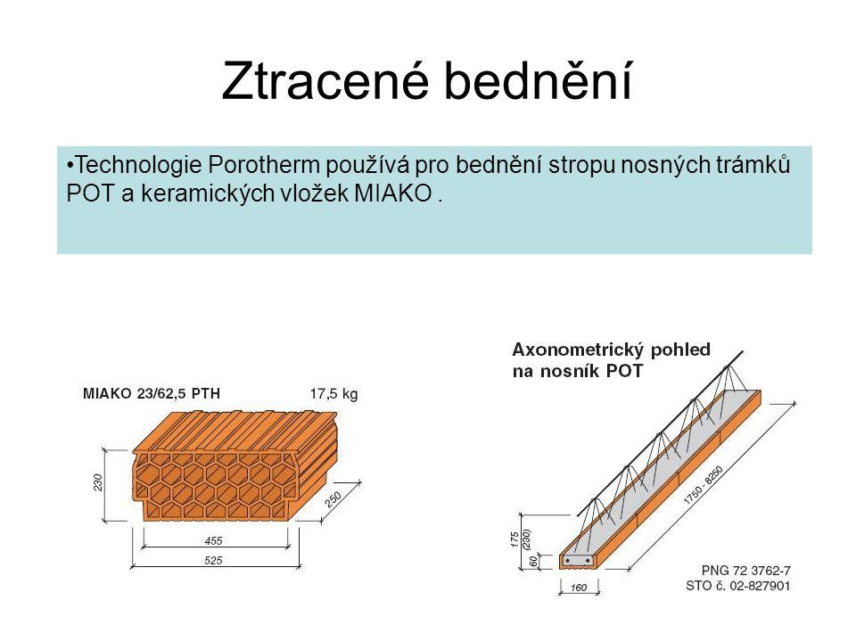 Ztracené bednění Technologie Porotherm používá pro bednění stropu nosných trámků POT a keramických vložek MIAKO .