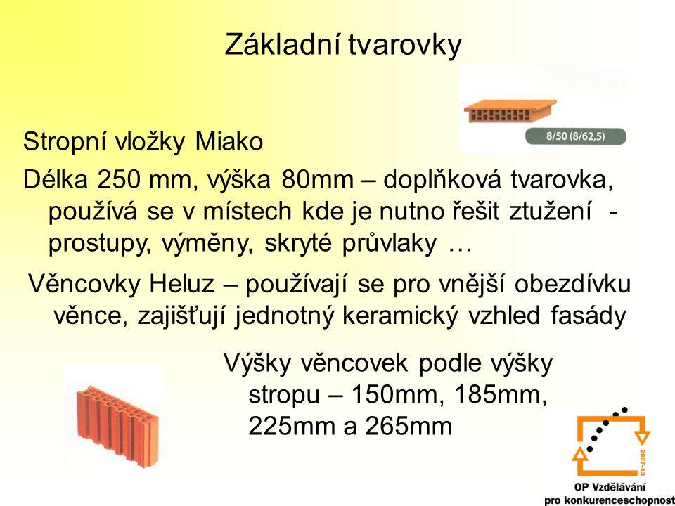 Základní tvarovky Stropní vložky Miako