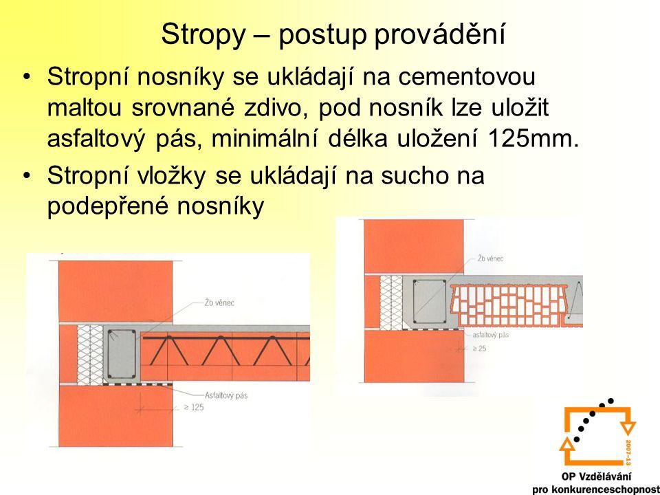 Stropy – postup provádění