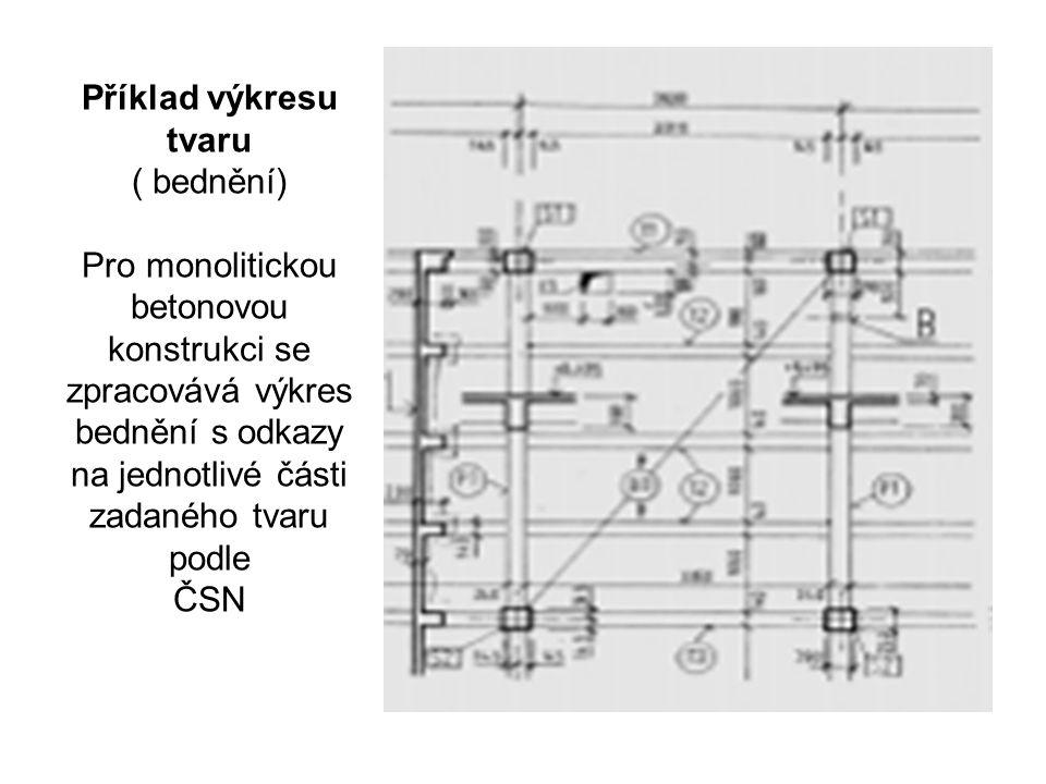 Příklad výkresu tvaru ( bednění) Pro monolitickou betonovou konstrukci se zpracovává výkres bednění s odkazy na jednotlivé části zadaného tvaru podle ČSN