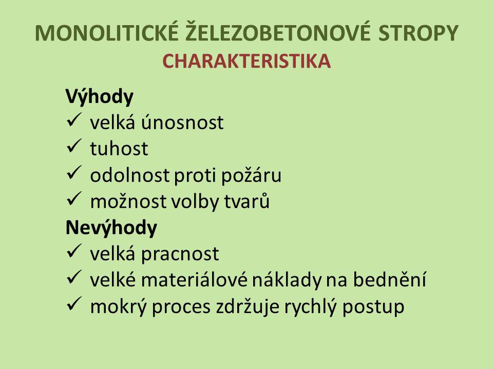 MONOLITICKÉ ŽELEZOBETONOVÉ STROPY CHARAKTERISTIKA