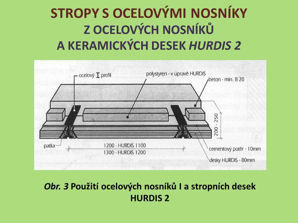 Obr. 3 Použití ocelových nosníků I a stropních desek HURDIS 2