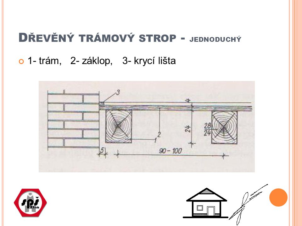 Dřevěný trámový strop - jednoduchý