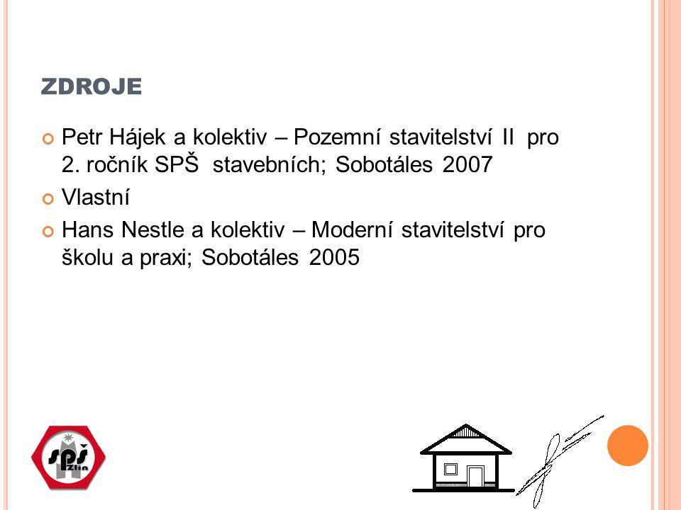 zdroje Petr Hájek a kolektiv – Pozemní stavitelství II pro 2. ročník SPŠ stavebních; Sobotáles 2007.