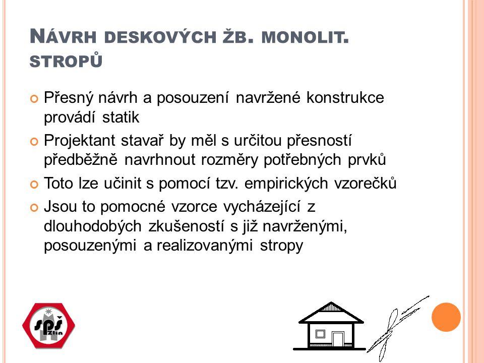 Návrh deskových žb. monolit. stropů