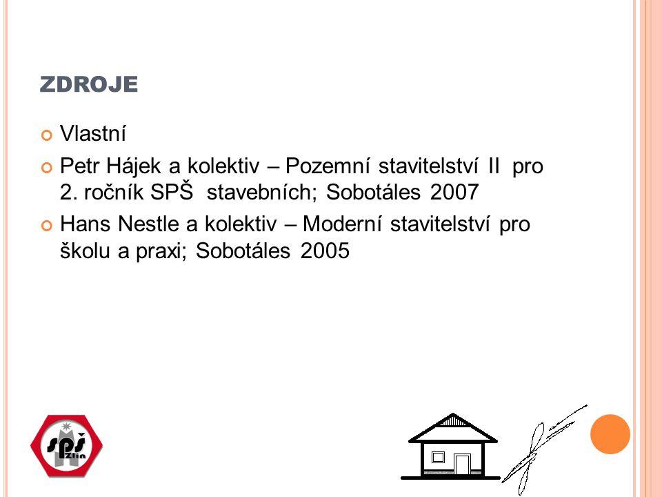zdroje Vlastní. Petr Hájek a kolektiv – Pozemní stavitelství II pro 2. ročník SPŠ stavebních; Sobotáles 2007.