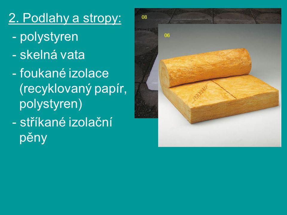 - foukané izolace (recyklovaný papír, polystyren)