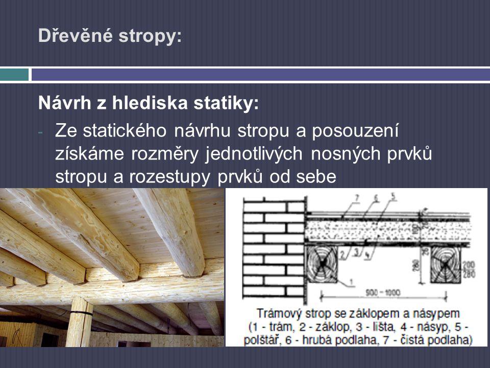 Dřevěné stropy: Návrh z hlediska statiky: