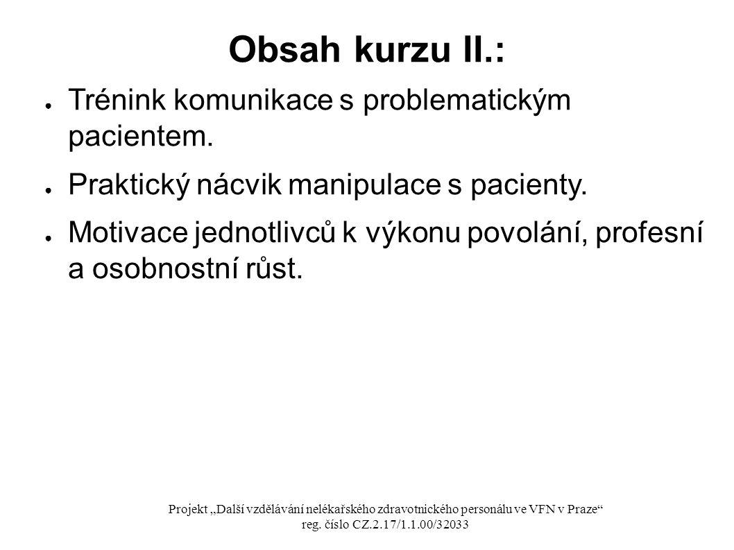 Obsah kurzu II.: Trénink komunikace s problematickým pacientem.