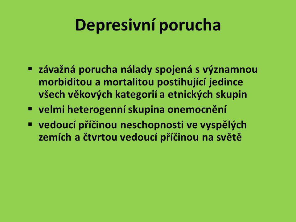 Depresivní porucha závažná porucha nálady spojená s významnou morbiditou a mortalitou postihující jedince všech věkových kategorií a etnických skupin.