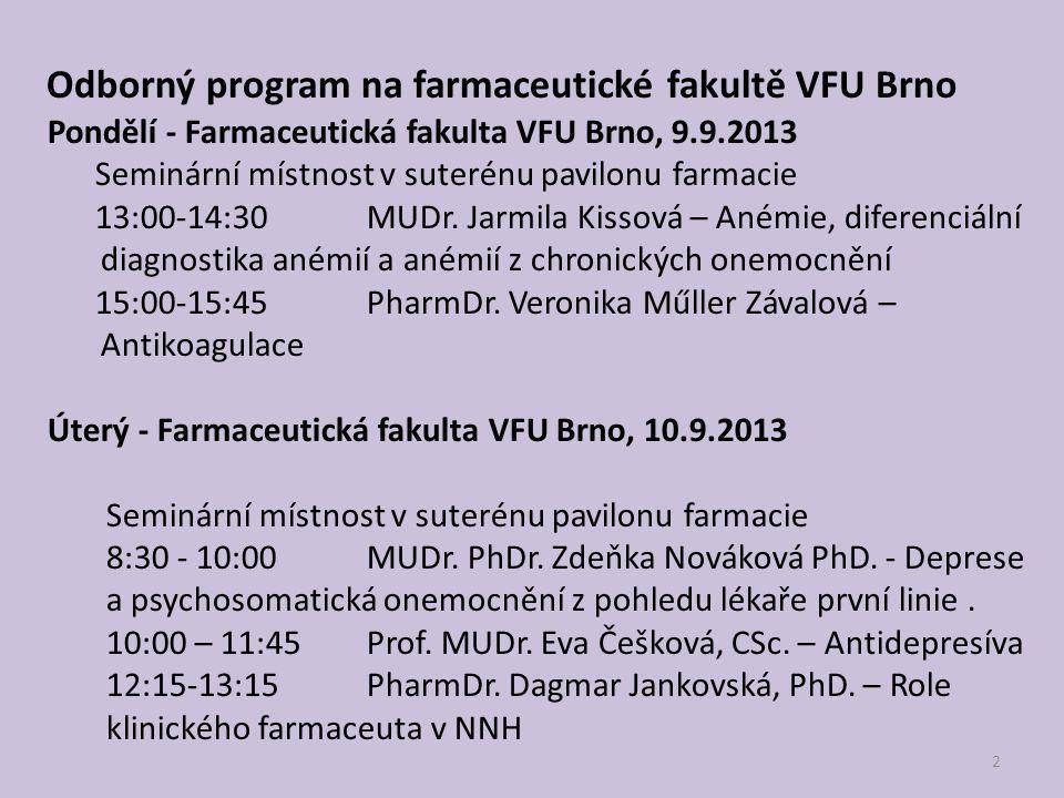 Odborný program na farmaceutické fakultě VFU Brno