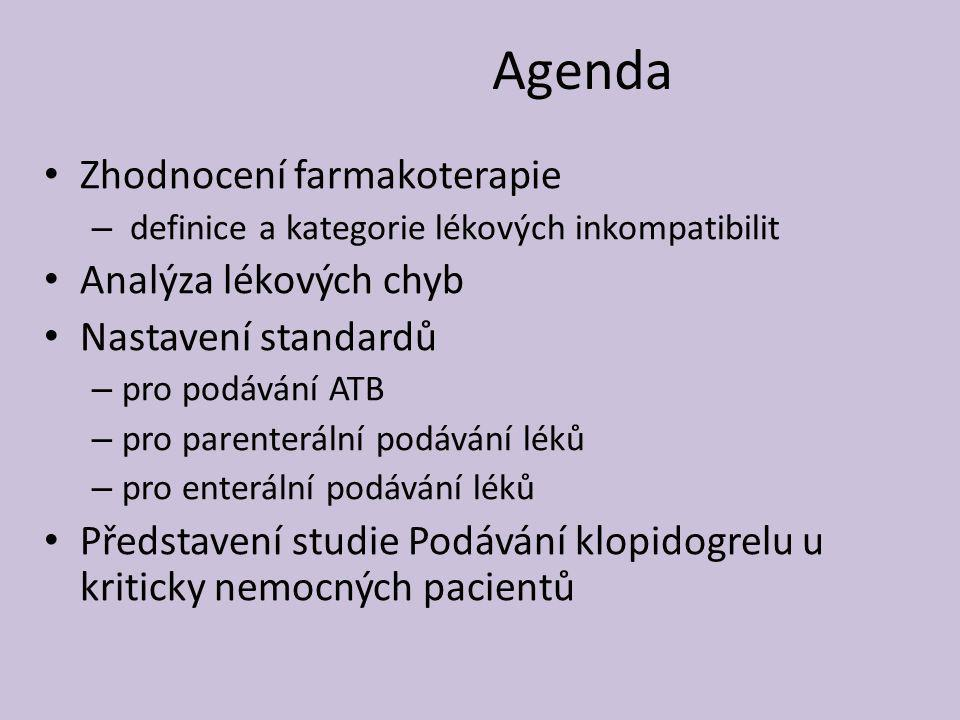 Agenda Zhodnocení farmakoterapie Analýza lékových chyb